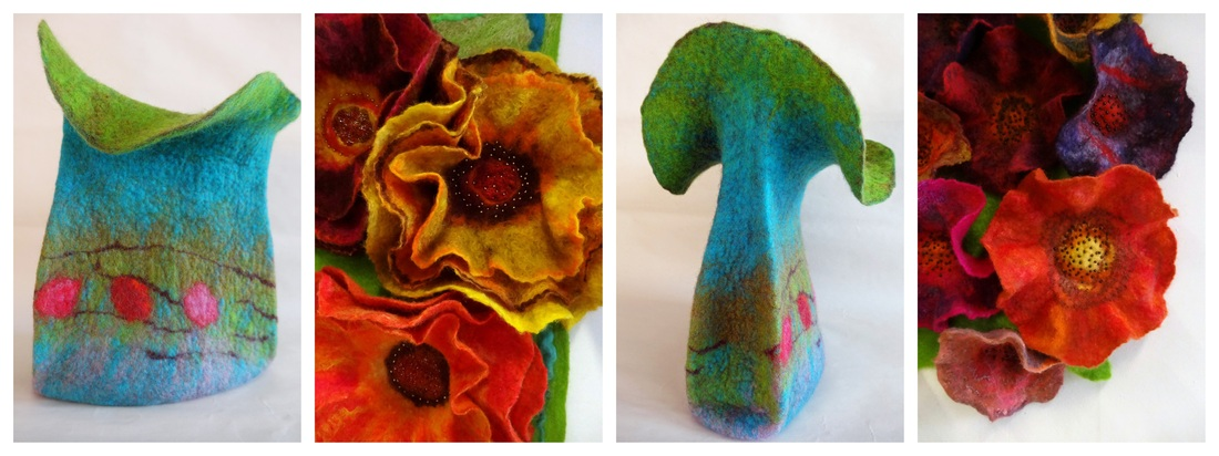 Felted Vases and Wallhangings - Felt Maker Edinburgh - Heather Potten - Exhibition